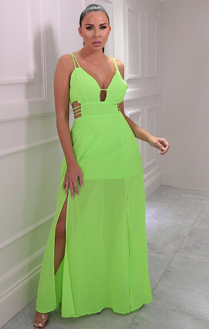 Neon Green Double Split Maxi Dress - Adelyn