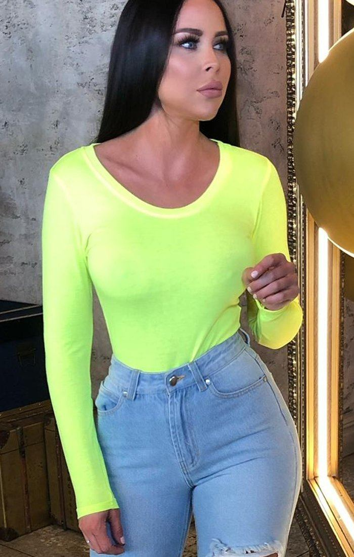 Neon Green Long Sleeve Bodysuit - Madelyn