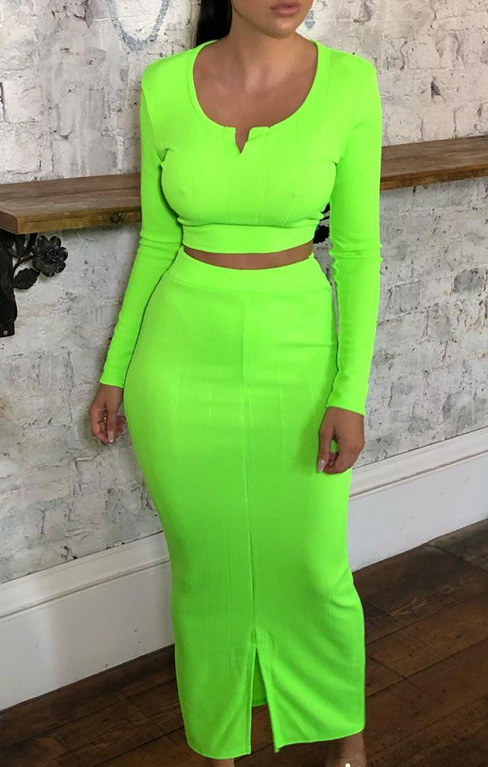 Neon Green Ribbed Bandage Top & Maxi Skirt Co-ord - Bailee