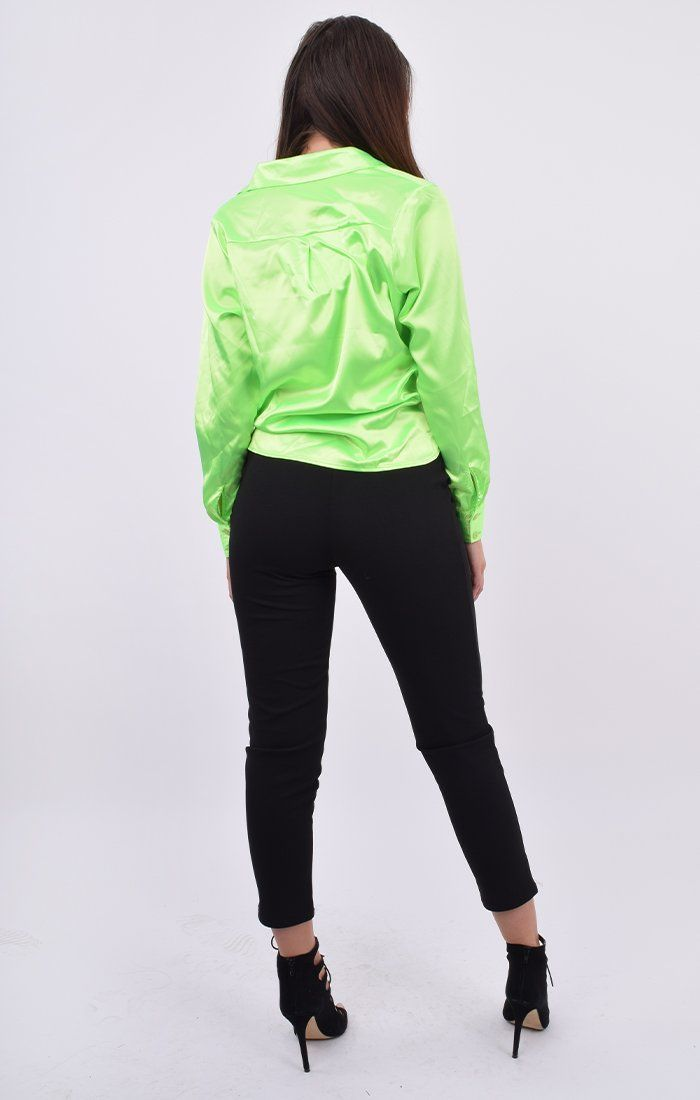 Neon Green Satin Button Up Tie Front Shirt - Jaymee