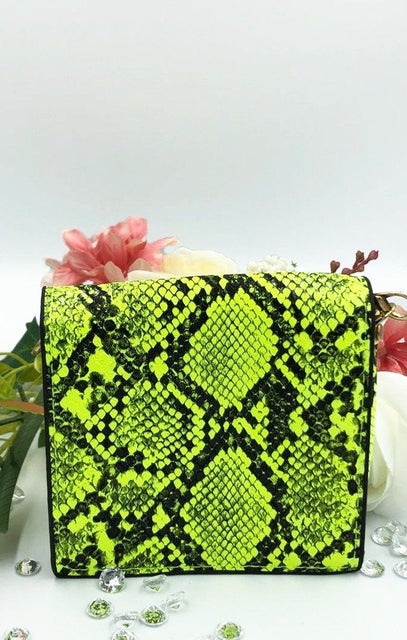 Neon Green Snake Print Micro Mini Bag - Bess