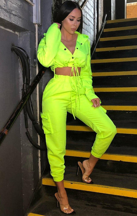 Neon Lime Button Up Tracksuit Set - Aliya
