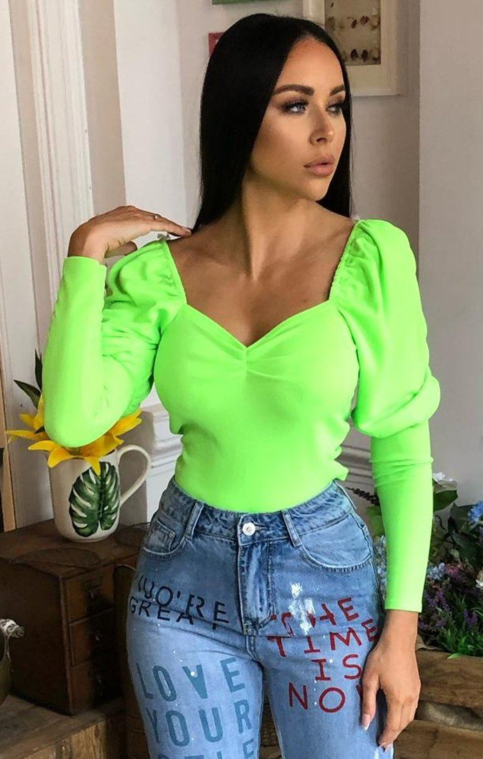 Neon Lime Elastic Puff Frill Sleeve Top - Sofia