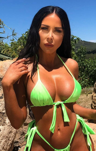 Neon Lime Green Bow Tie Halter Neck Bikini Top - Mariana