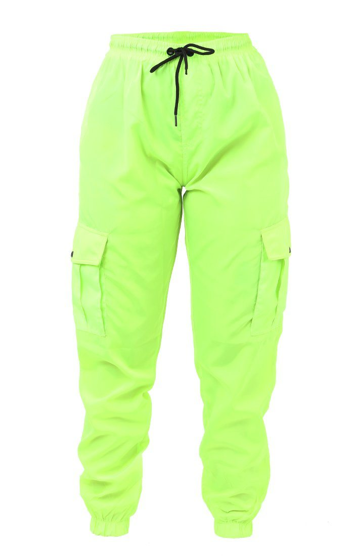 Neon Lime Green Cargo Trousers - Selah