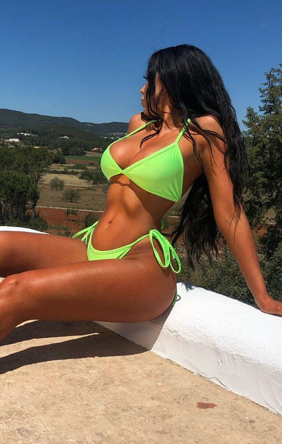 Neon Lime Green String Tie Waist Bikini Bottoms - Jenni