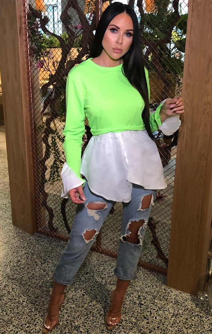 Neon Lime Layered Look Shirt Jumper - Ari