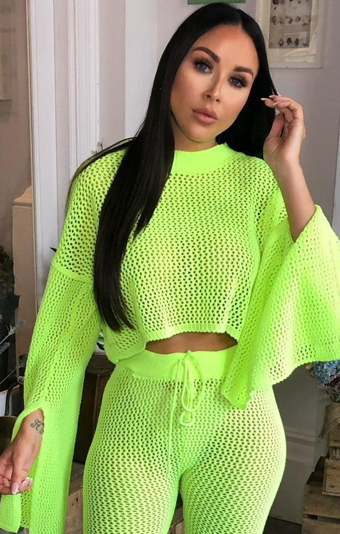 Neon Lime Mesh Flare Sleeve Knitted Loungewear Co-Ord - Kai