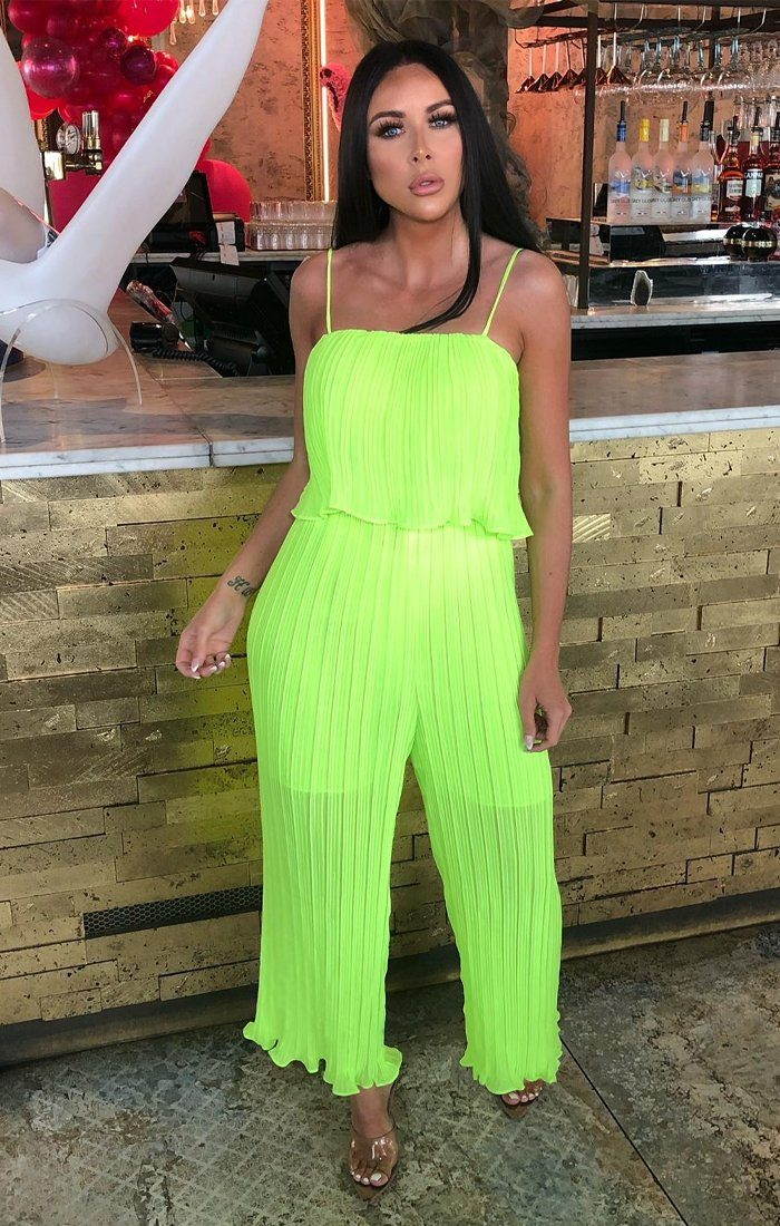 quality design beautiful style highly coveted range of Neon Lime Pleated Mesh Layered Jumpsuit - Karsyn