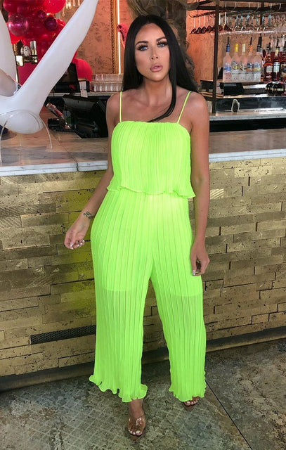 Neon Lime Pleated Mesh Layered Jumpsuit - Karsyn