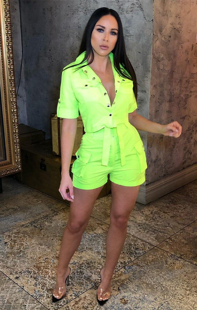 Neon Lime Pop Button Shorts Co-Ord - Andrea