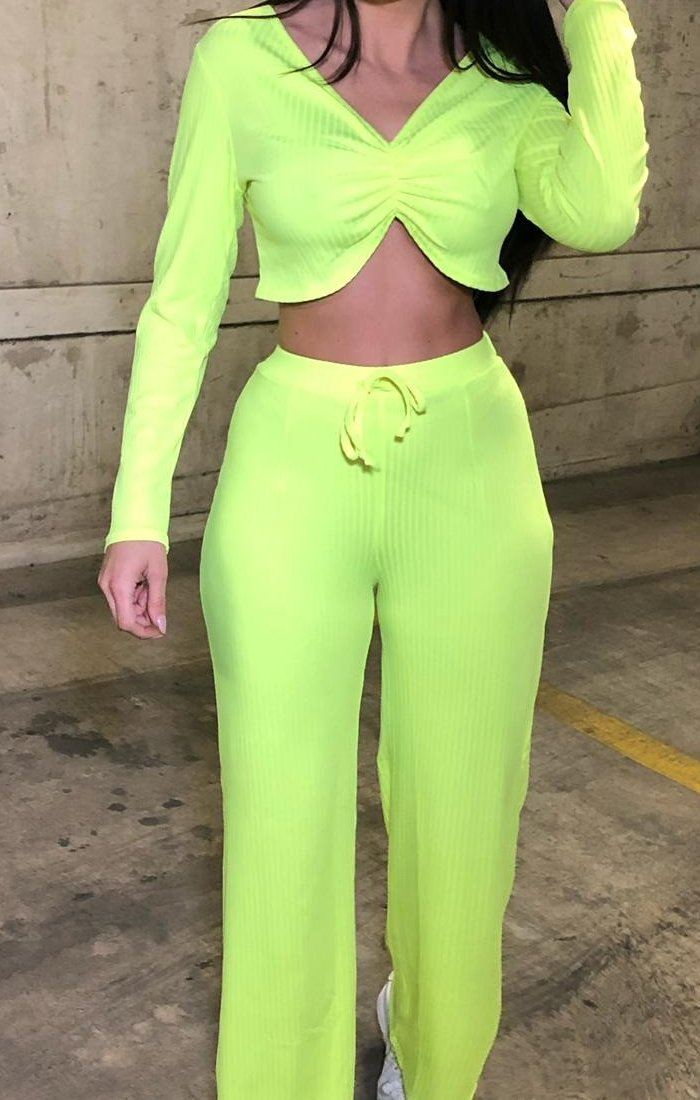 Neon Lime Ribbed Ruched Loungewear Set - Valaria