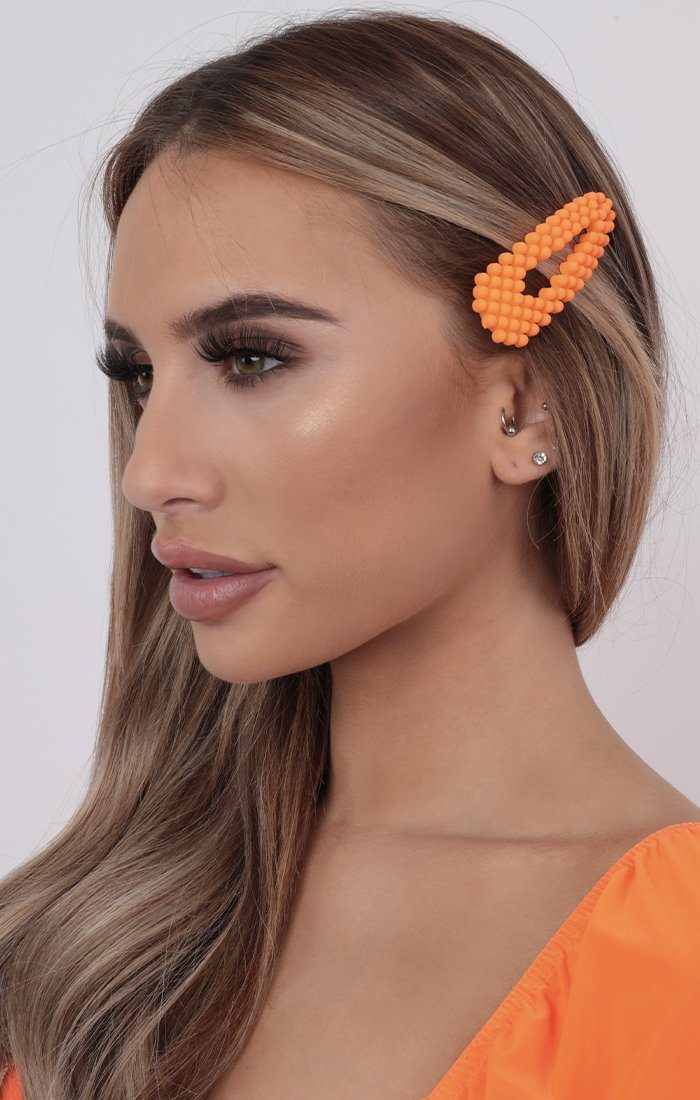 Neon Orange Beaded Hair Clip - Londyn