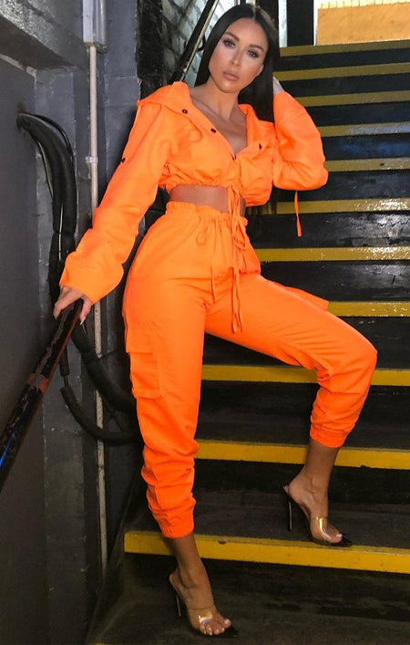 Neon Orange Button Up Tracksuit Set - Aliya