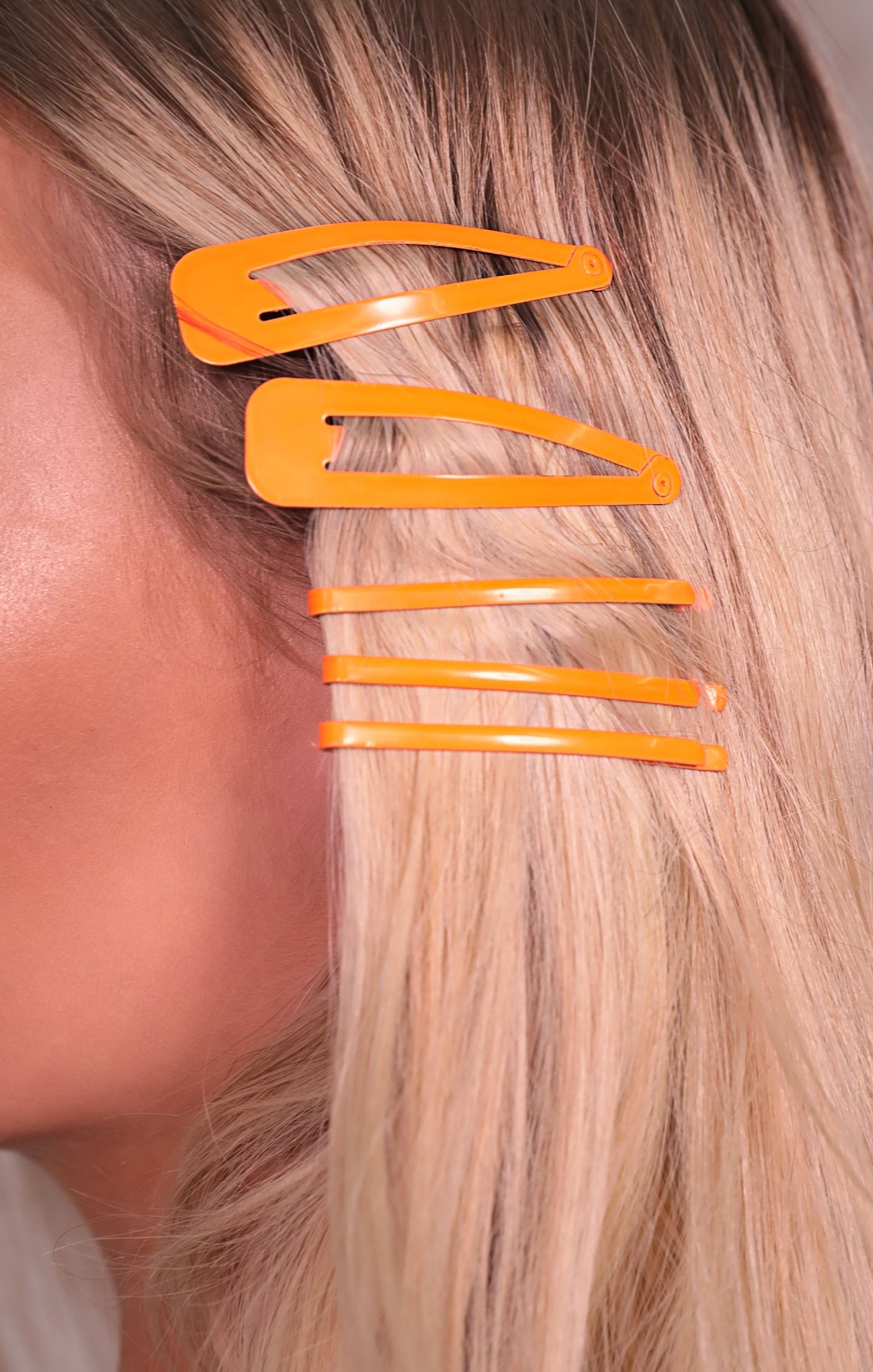 Neon Orange Hair Clip & Slide Set - Chrissy