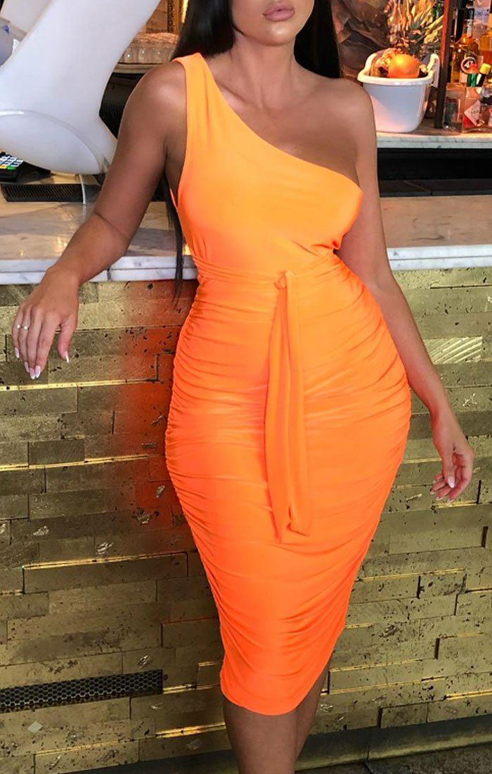 Neon Orange One Shoulder Slinky Midi Dress - Dylan