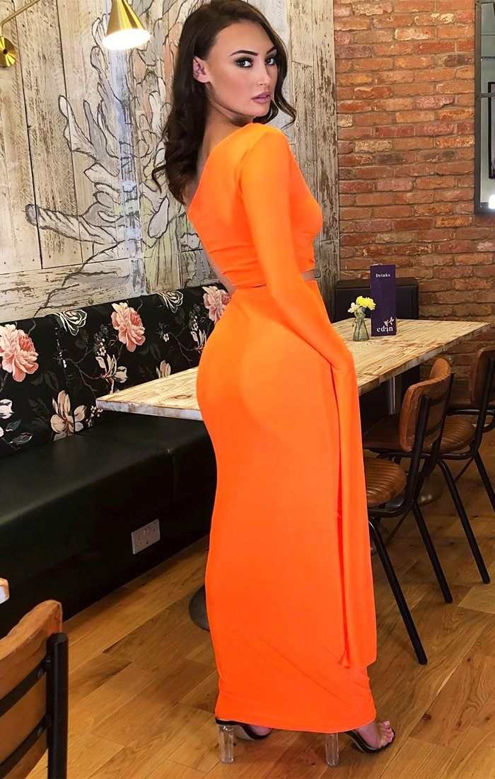 Neon Orange One Shoulder Split Sleeve Co-Ord - Lina