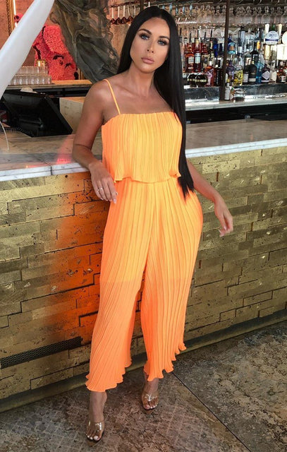 Neon Orange Pleated Mesh Layered Jumpsuit - Karsyn