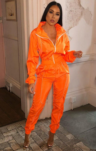 Neon Orange Shell Suit Co-Ord - Victoria