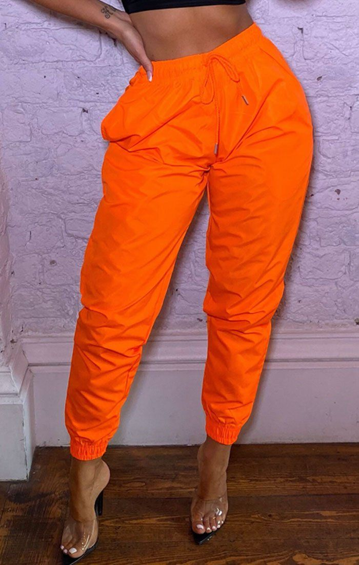 Neon Orange Shellsuit Elasticated Cuffed Joggers - Ashby