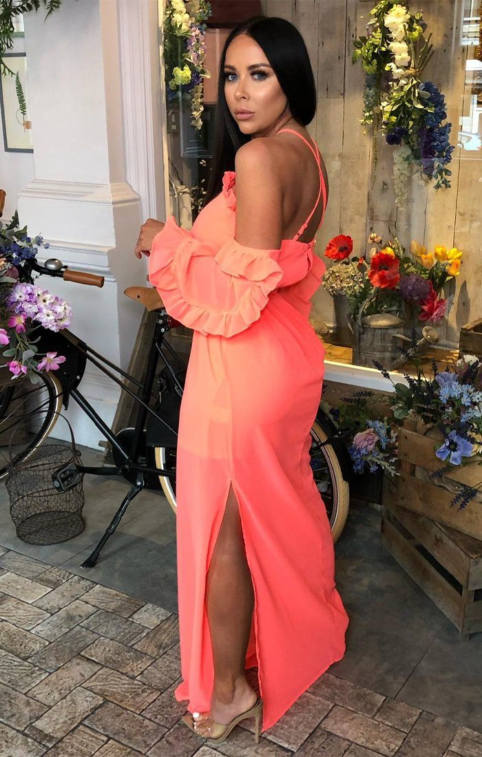 Neon Pink Bardot Ruffle Sleeve Maxi Dress - Abril