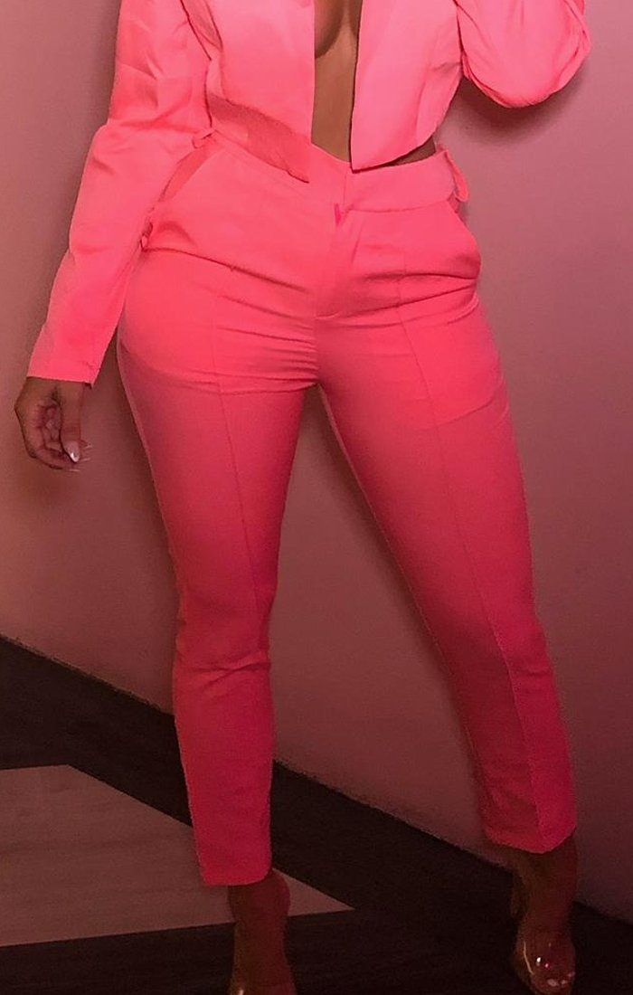 Neon Pink Belted Cigarette Trousers - Frankie
