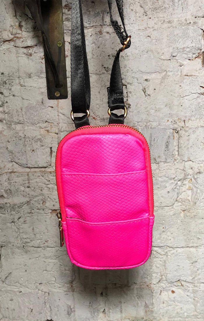 Neon Pink Crossbody Mini Pouch Bag - Lizie