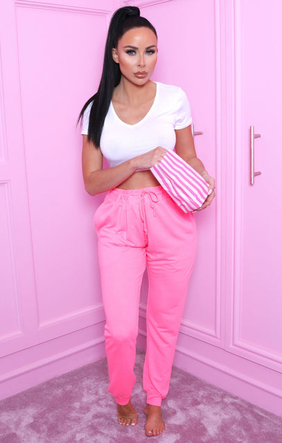 Neon Pink Cuffed Slim Leg Joggers - Kylie