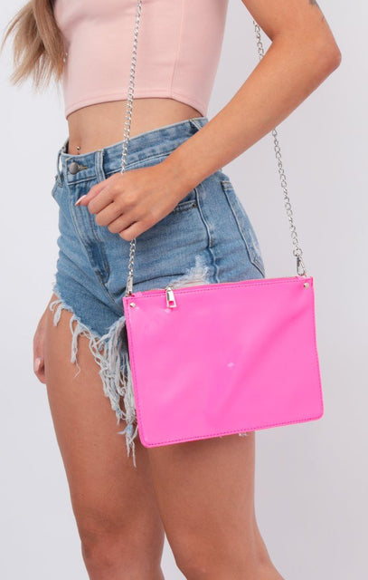 Neon Pink Envelope Clutch Cross Body Bag - River