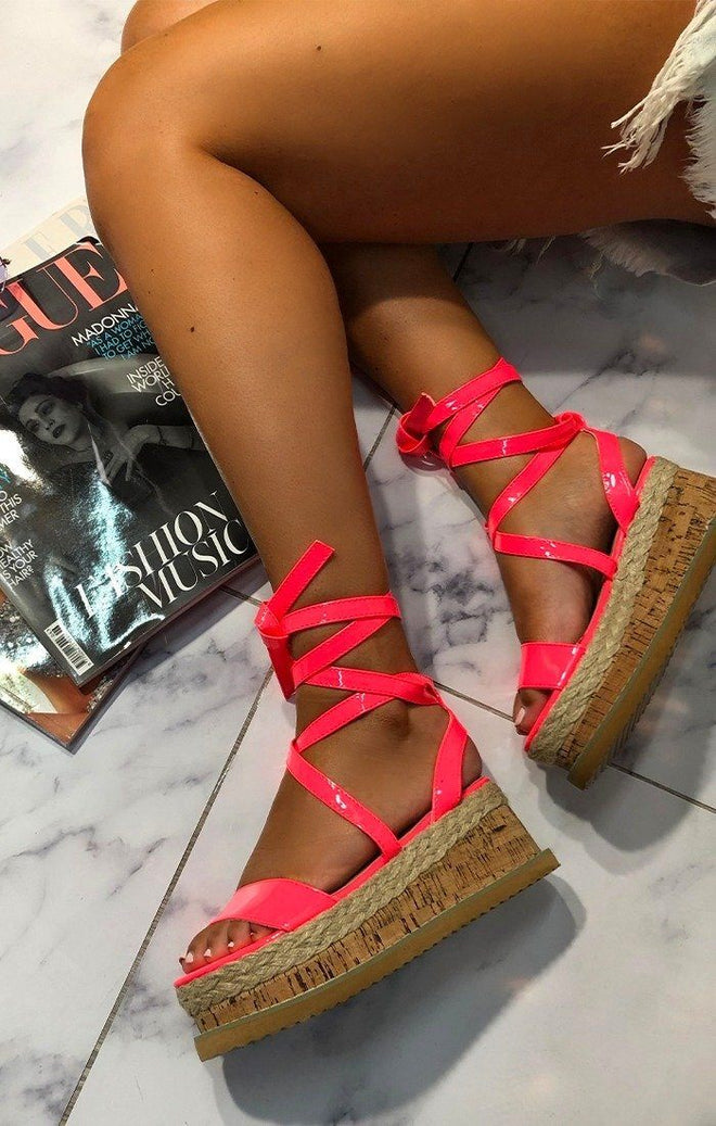 Neon Pink Lace Up Chunky Espadrille Sandals - Nixcy