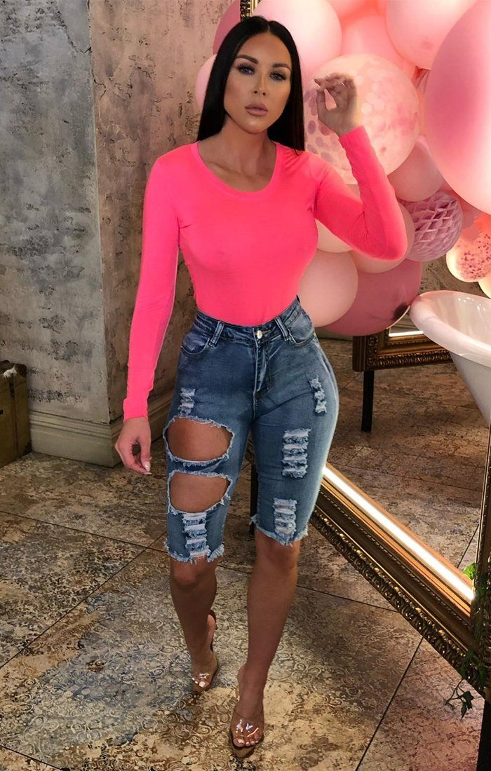 Neon Pink Long Sleeve Bodysuit - Madelyn
