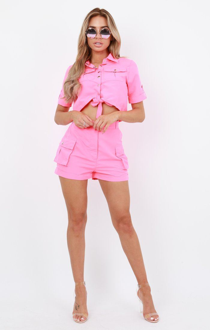 Neon Pink Pop Button Shorts Co-Ord - Andrea