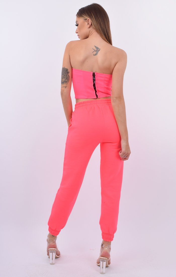Neon Pink Skinny Fit Joggers - Mia