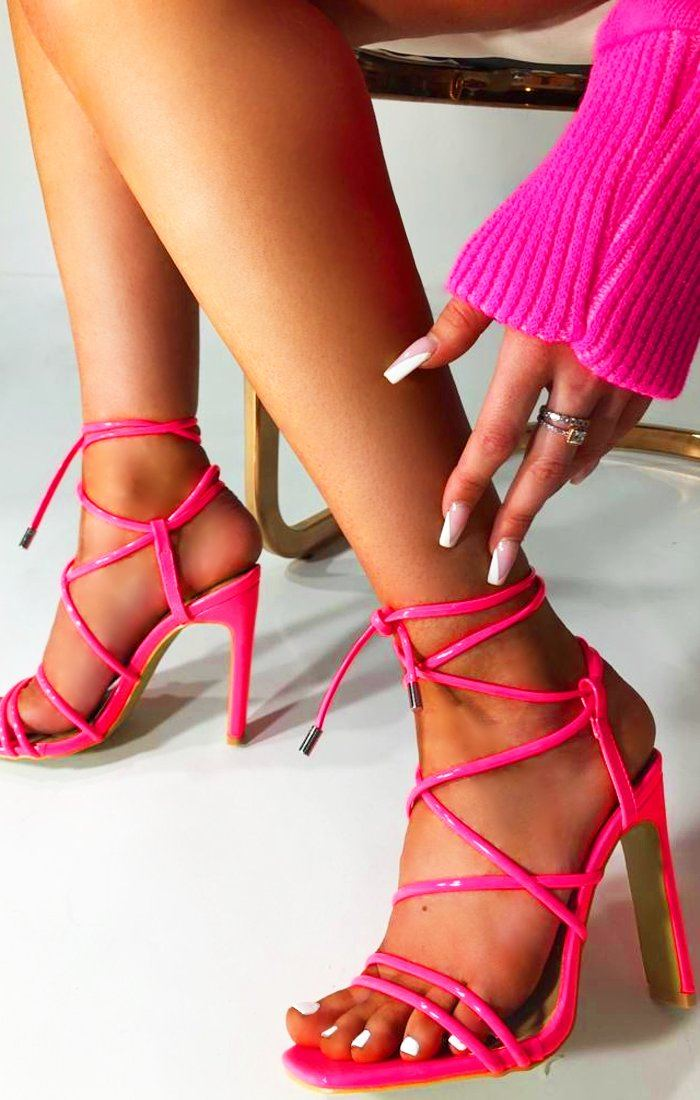 Neon Pink Strappy Lace Up Heels - Zada