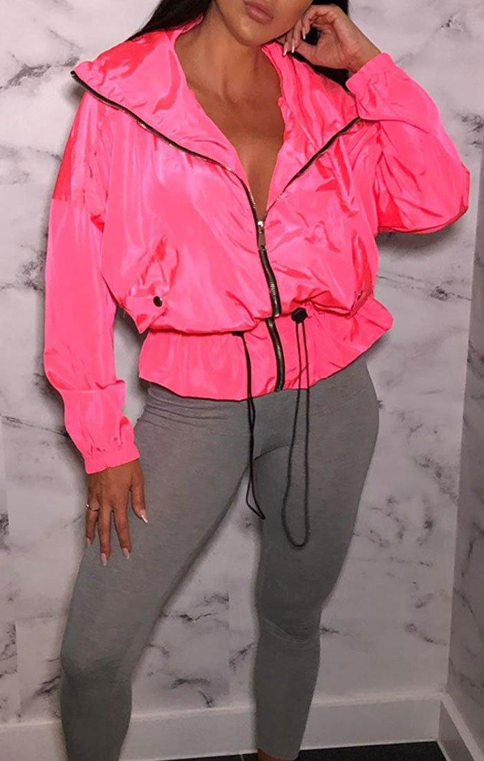 Neon Pink Tracksuit Elasticated Jacket - Polly