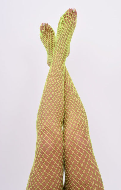 Neon Yellow Fishnet Tights - Kerry