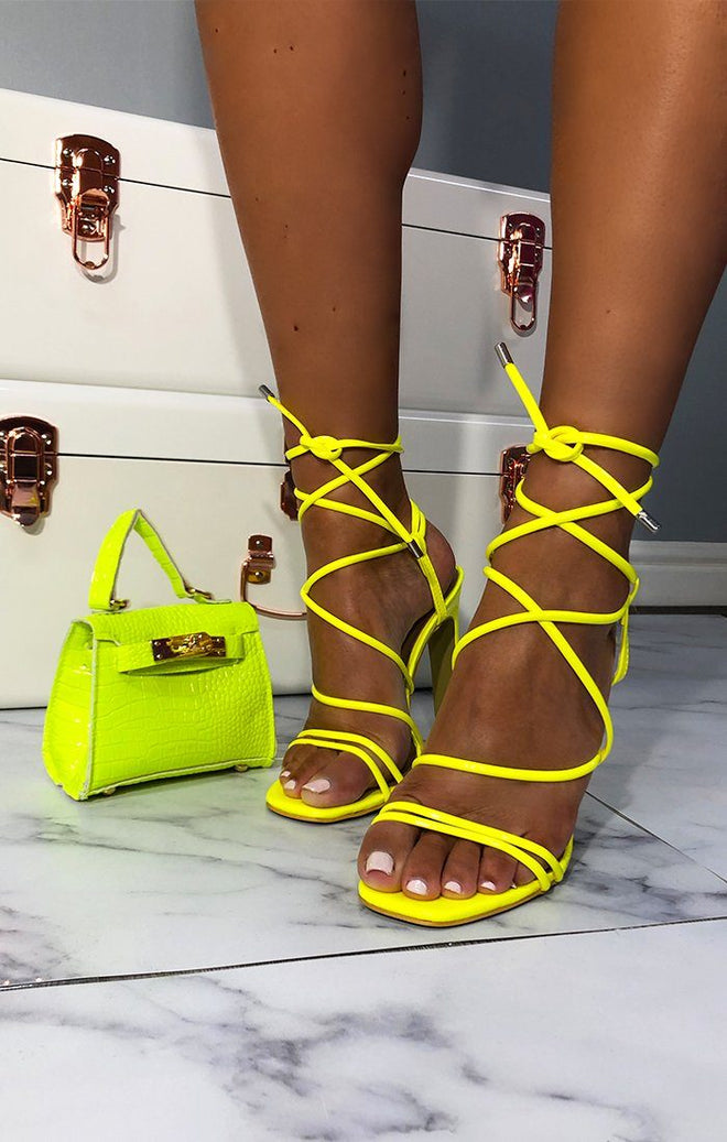 Neon Yellow Lace Up Heels - Chilli
