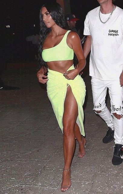 Neon Yellow One Shoulder Crop Top - Keeley