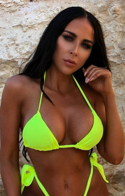 Neon Yellow Ribbon Tie Halter Neck Bikini Top - Kyla