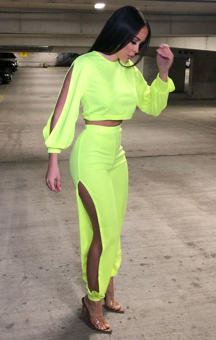 Neon Yellow Split Co-Ord Set - Sydney