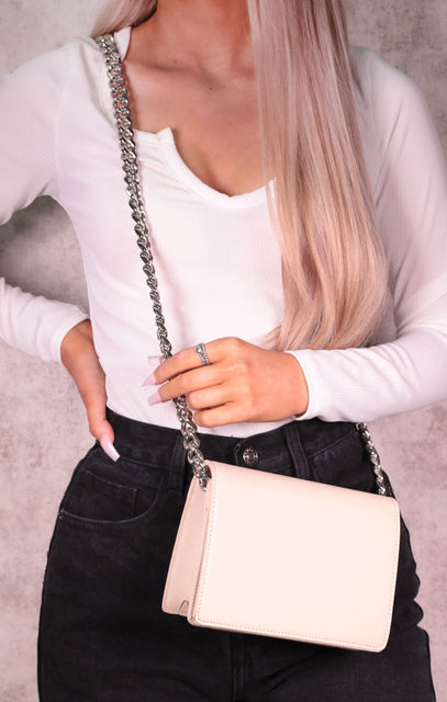 Nude Chunky Chain Wallet Bag - Merissa