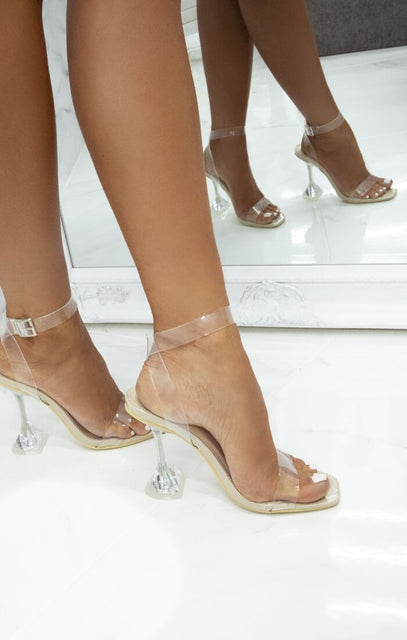 Nude Clear Diamond Cake Stand Strappy Heels - Charlie
