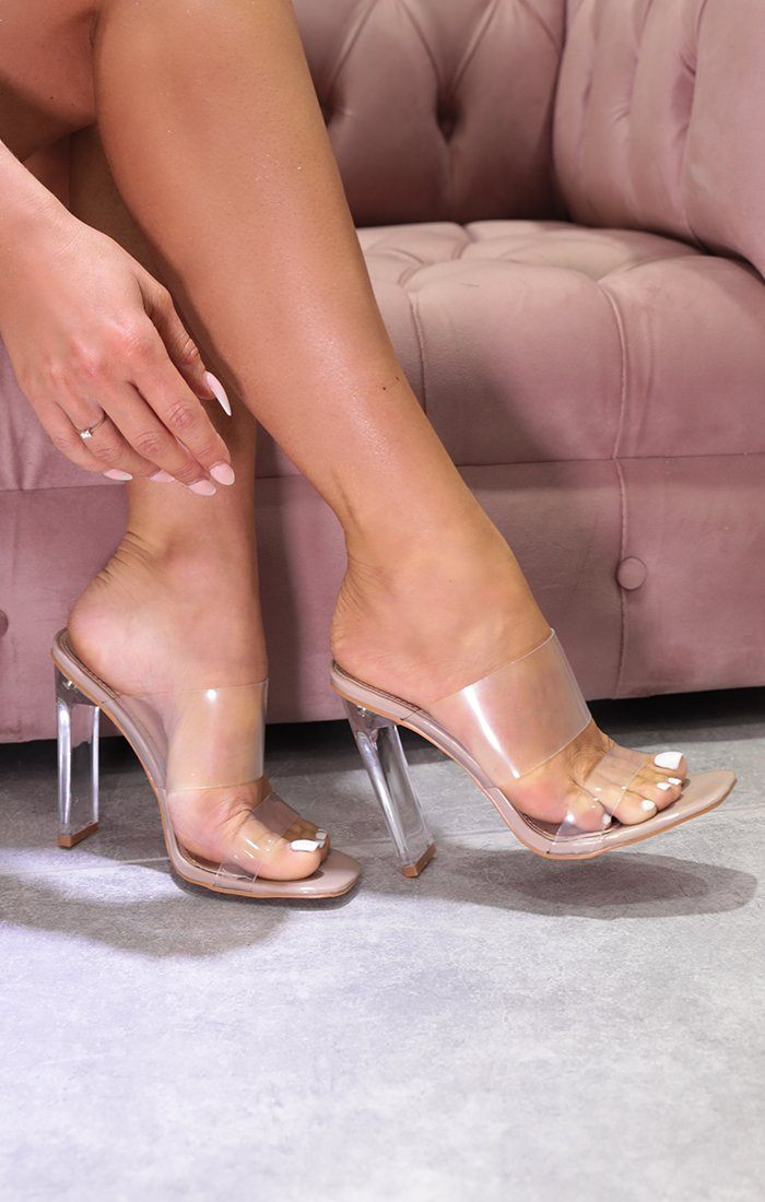 Nude Clear Perspex Double Strap Mules - Meadly