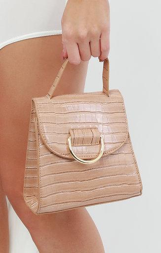 Nude Croc Print Shoulder Grab Bag - Mercy