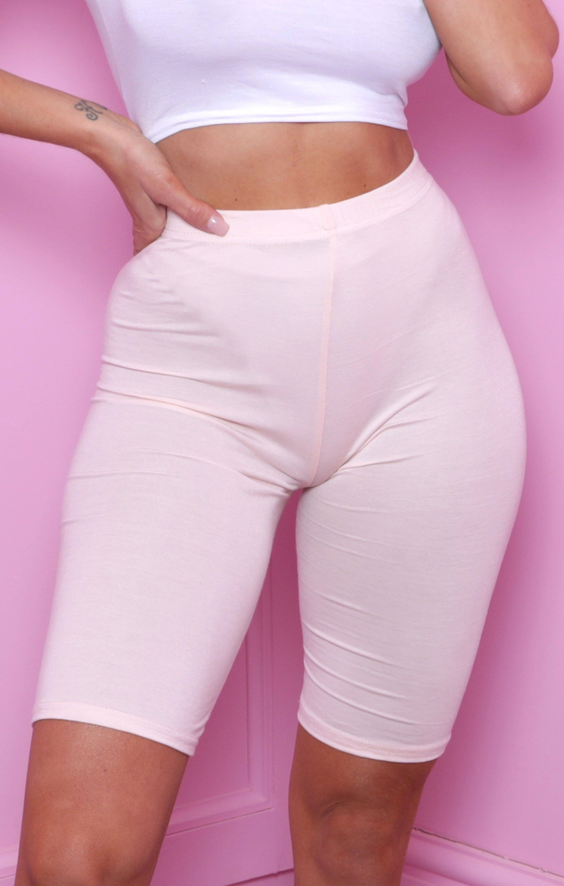 Nude Cropped Basic Cycling Shorts - Roxanne
