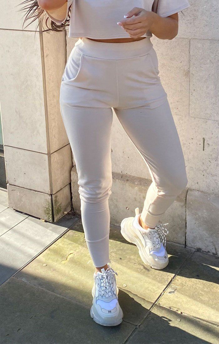 Nude Cuffed Pocket Detail Joggers - Teddy
