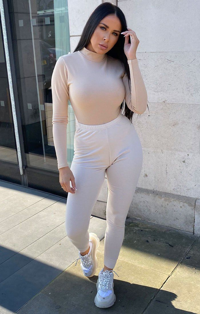 Nude High Neck Long Sleeve Bodysuit - Hetty