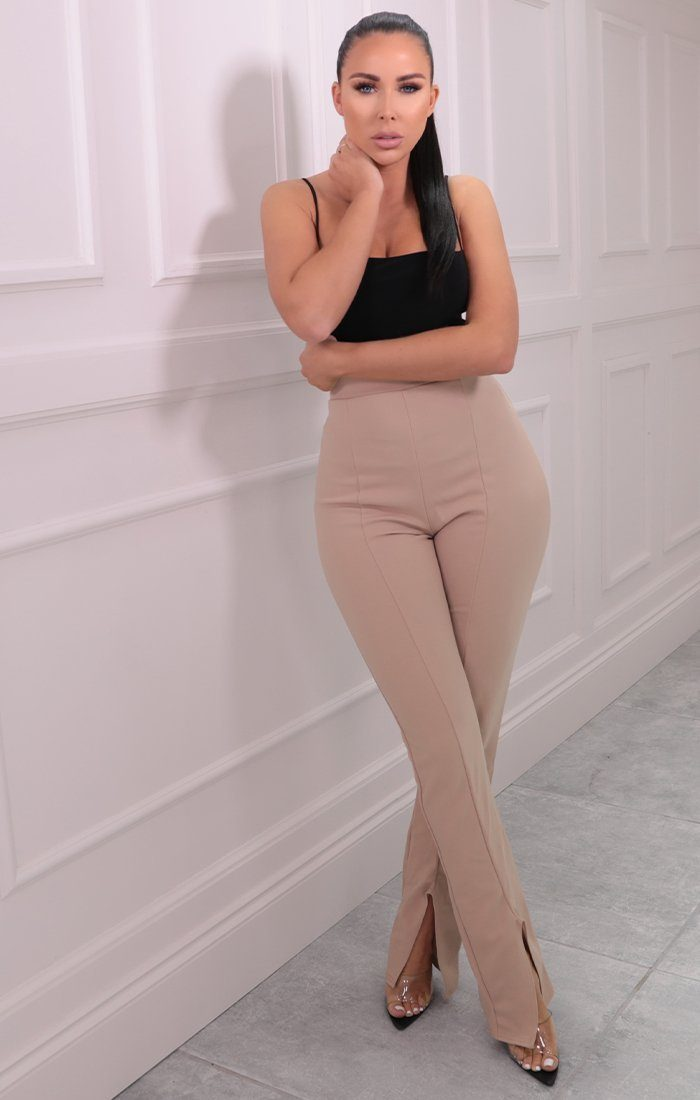 Nude High Waisted Flare Slit Leg Trousers - Issa