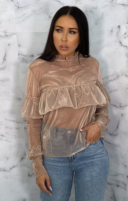 Nude Metallic Mesh Frill Long Sleeve Top - Chloe