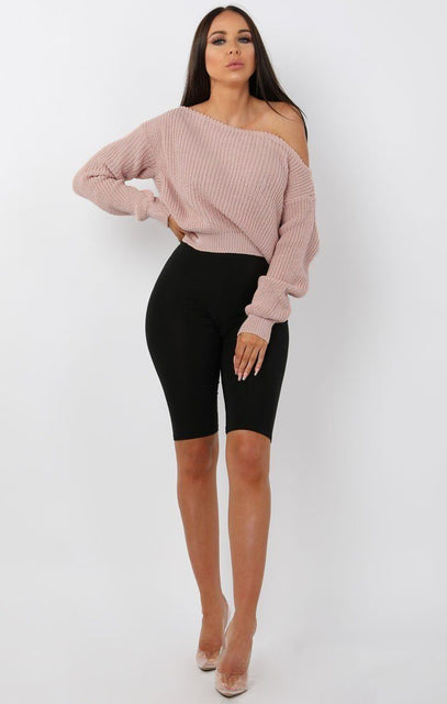 Nude Off Shoulder Knitted Jumper - Aspen
